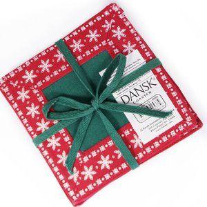RARE Gift Set of 4 DANSK Nordic Snowflake Coasters